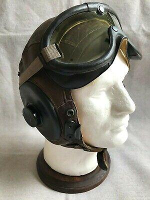 WW2 USAAF Bomber Crew type Shelby Shoe Co. A-11 Pilots Military Flight Helmet.