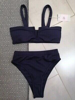 a02efec5c6 Costume mare donna, Bikini blu a vita alta, top fascia. Moda mare 2019