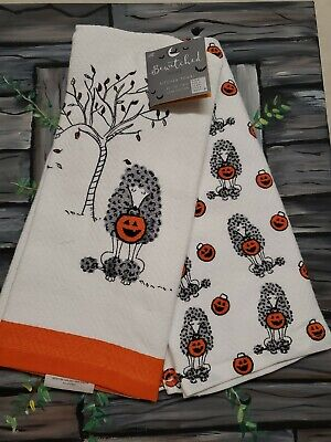 Halloween Kitchen Towels Adorable Trick or Treating Poodle Dog Set of 2 NEW