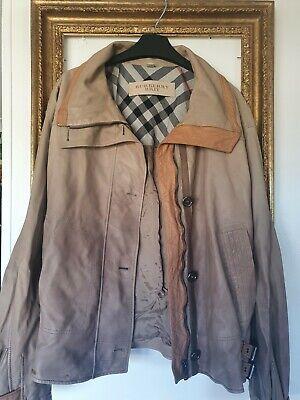Burberry Brit Ombre Beige Lambskin Leather Biker Jacket Size 8