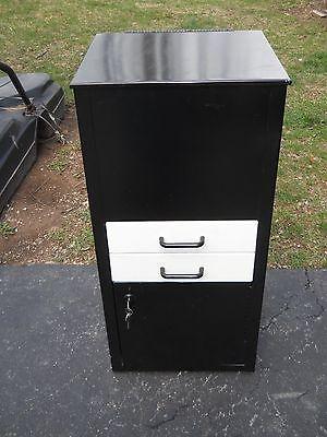 Metal Locking File Cabinet 2 Drawers Shelf Key Stand Industrial
