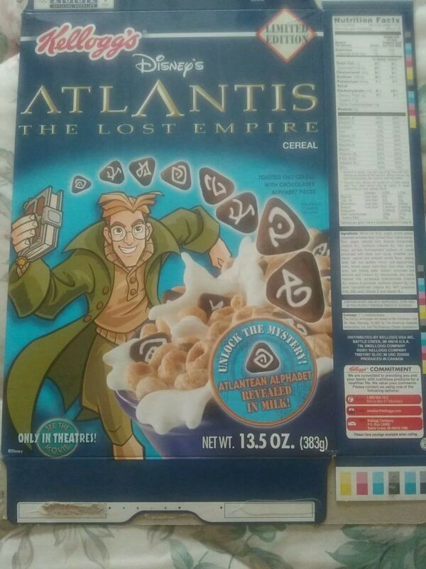 2001 Atlantis (The Lost Empire) Cereal Box - Limited Edition - Kellogg