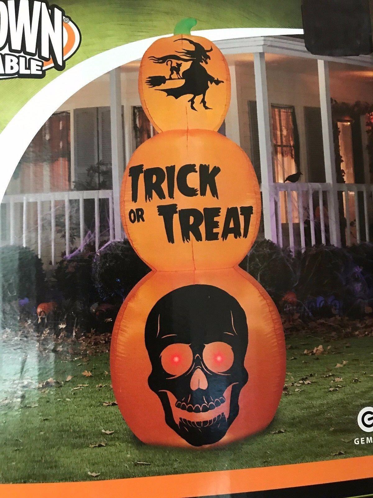 Gemmy Halloween 8.5' Triple Stack Pumpkin Lighted Airblown/inflatable Decor