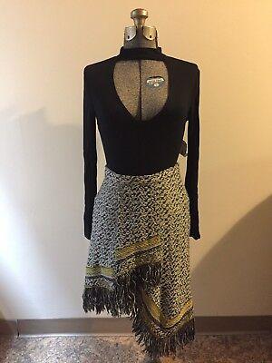 ANTHROPOLOGIE: Asymmetric Fringe Sweater Skirt *SZ.XSP (BLK-WHITE-YELLOW MULTI)