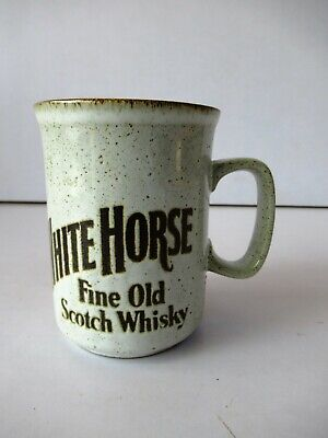 "Vintage White Horse Fine Old Scotch Whisky Coffee Mugs Dunoon Ceramics""F1"