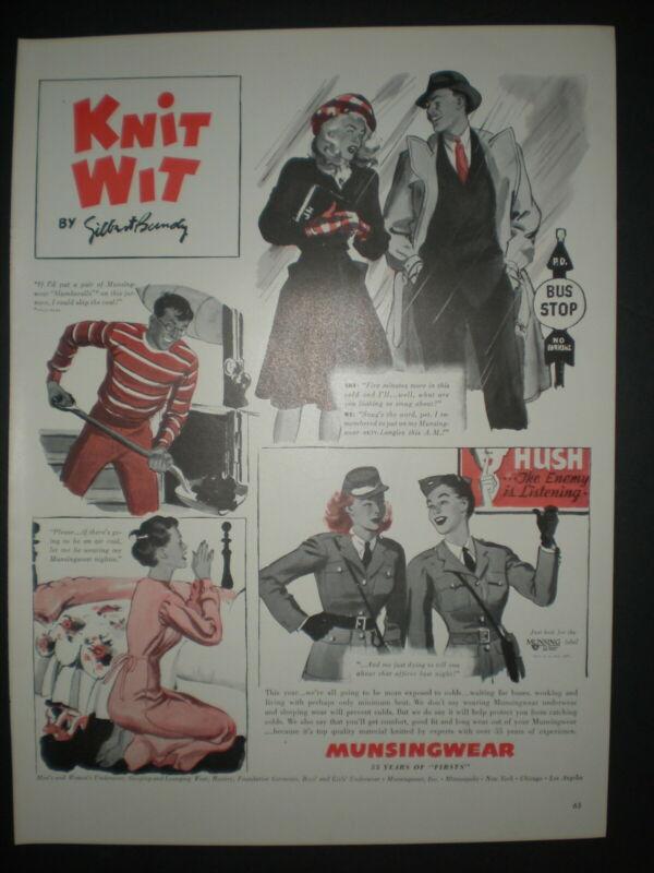 1942 WACS WWII NIT WIT by GILBERT BUNDY vintage MUNSINGWEAR Trade print ad