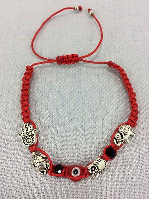 Hamsa Turtle Evil Eye Owl Elephant Charm Rope Bracelet Adjustable