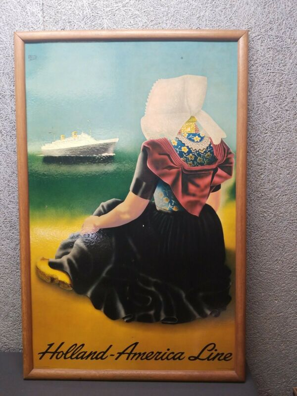 Large 1950s Vintage Holland-America Line Cruise Ship Advertising Sign Ships Free