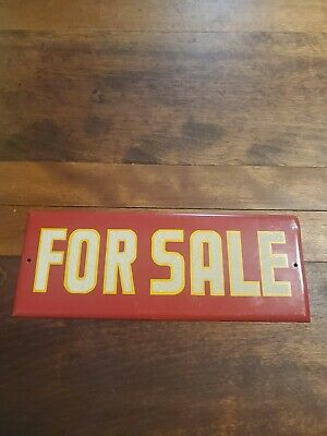 "Vintage Reflective Tin For Sale Sign 9.25"" X 3.5"""
