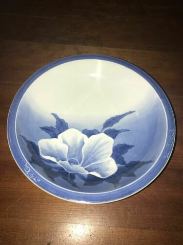 Japanese Blue & White Relief Moriage Hirado Porcelain Flower Bowl