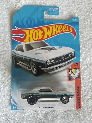 2019 Hot Wheels  #181 Muscle Mania 6/10 68 COPO CAMARO White w/Black Mc5-5Spokes