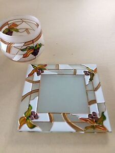 Frosted Glass Candle Holder Set