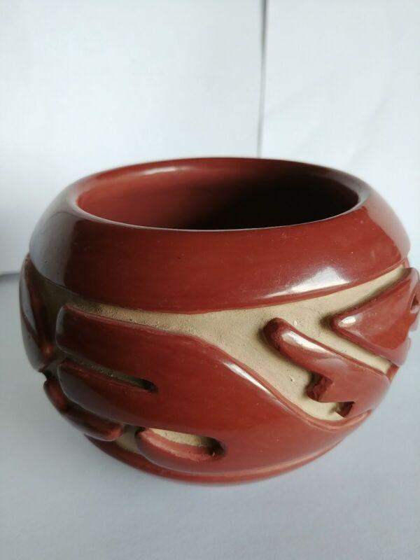 Santa Clara Pueblo Red Clay Serpent Pot by Teresita Naranjo