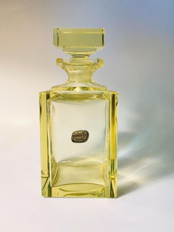 Bohemia Crystal Citrine Crystal Decanter Square Body Made In Czechoslovakian
