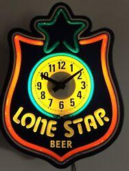 Vintage Lone Star Beer Light Clock Neon-Look Working Very Good Shape Rare Design