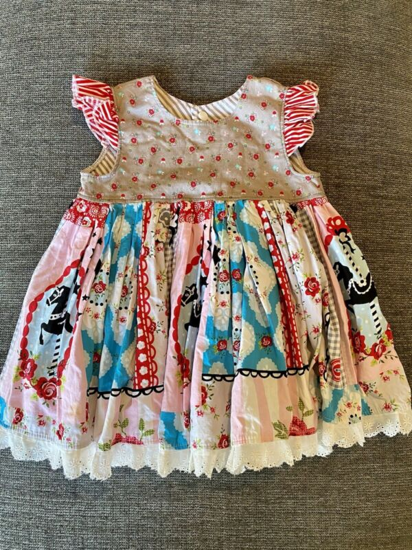 Daffodil Fields Boutique Girls 2T carousel Horse Floral dress