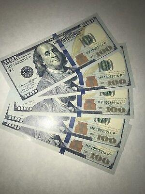 100 Dollar Prop Money Full Print 500 Fake Play Bills Real Looking Realistic