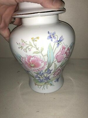 "GINGER JAR HAND PAINTED PEONY VIOLETS JAPAN VINTAGE GOLD GILT FLORAL WHITE 8"" H"