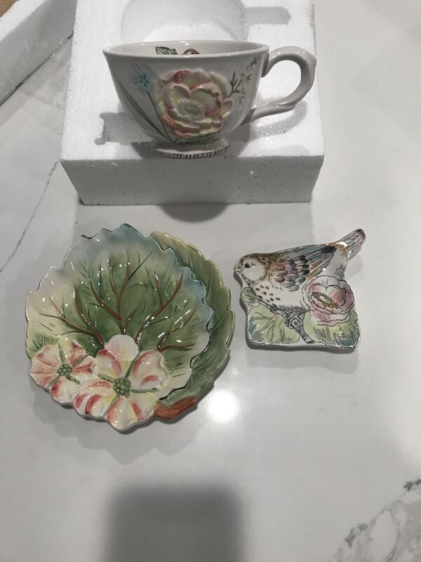 """FITZ AND FLOYD """"ENGLISH GARDEN"""" TEA CUP SAUCER AND TEA REST COLLECTION NEW"""