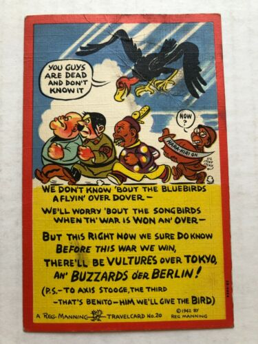 1942 WWII Postcard of Vultures Circling Hitler, Benito, Tojo and Mussolini   A