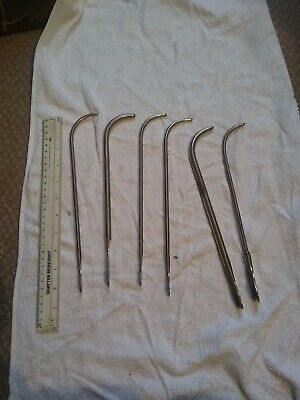 B VIN SURGICAL URETHRAL SOUNDS INSTRUMENTS x 6 sizes A E F & ONE FRYE ONE THOMAS