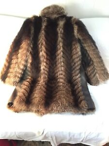 Fur leather 3/4 length coat