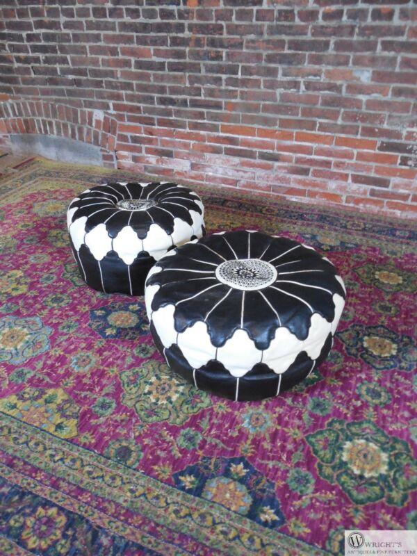 Vintage Pair Moroccan Taj Trellis Design Leather Ottomans circa 1980