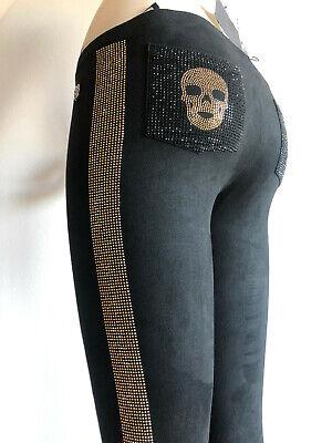 RRP €450 Authentic PHILIPP PLEIN JUNIOR Rhinestoned Leggings Size 16Y