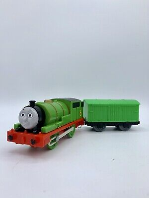 Thomas & Friends Motorized Trackmaster Percy 6 With Green Long Boxcar 2009
