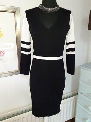 KAREN MILLEN Black White Stretch Knit Bodycon Dress Size 3 -  UK 12