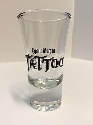 NEW Captain Morgan Tattoo Shot Glass Spiced Rum Libbey 3.5 Inch Tall 2oz Shooter - Shot Glass Tattoo