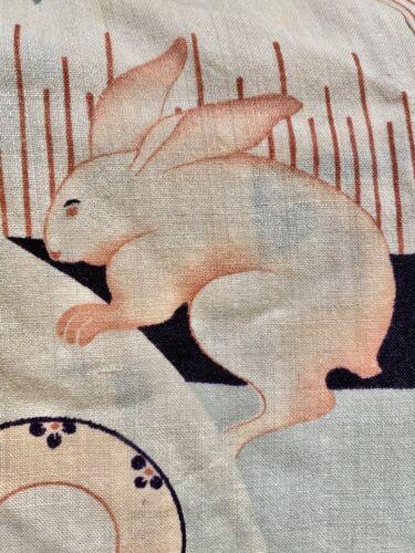 Japanese RABBIT & TURTLE prewar vintage or antique KIMONO