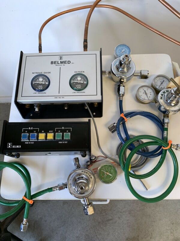 Belmed Dental Nitrous Oxide Manifold W/Alarm And 3 Regulator's