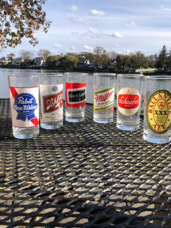 SIX Vintage Beer Label Drinking Glasses Tumbler Beer Collectible- MINT
