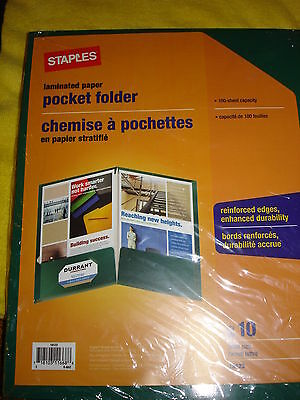 Laminated Paper Pocket Folder 10 Letter Size 100 Sheet Capacity