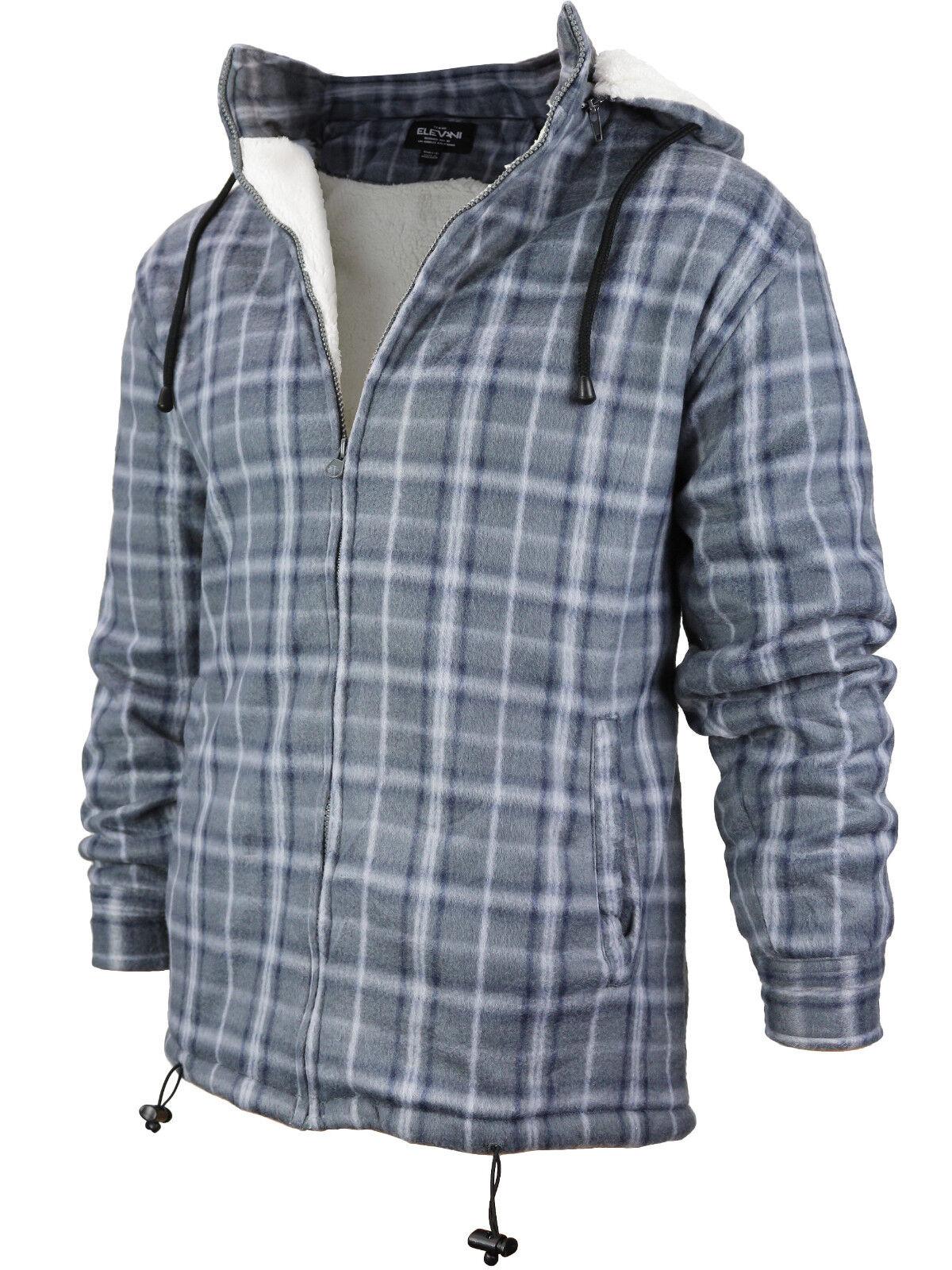 Men's Heavy Fleece Lined Sherpa Hoodie Plaid Flannel Jacket With Hood P2 - Grey Navy