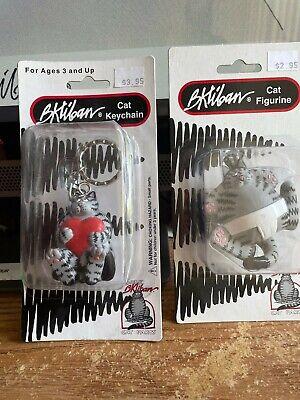 2 Kliban Cat Figurines-Heart Cat Key Chain & Sumo Cat MINT