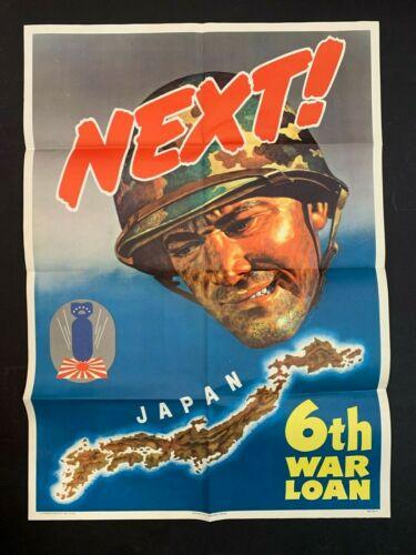 "Original vintage WORLD WAR 2 poster 1944. ""NEXT"" 6th War Loan"