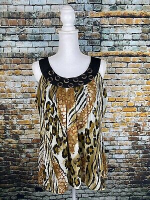NEW DIRECTIONS SLEEVELESS ANIMAL PRINT SIZE LARGE BLOUSE Wood Bead Neckline