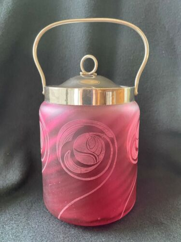 Antique Victorian Cranberry Etched Swirl Glass Biscuit Jar with Metal Hardware