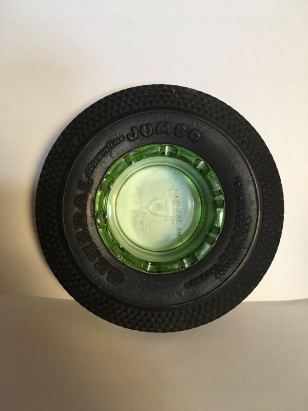 Depression Green Glass Vintage Ashtray Mini General Tire Jumbo 1930's - 40's