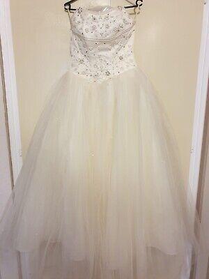 Hochzeitskleid Brautkleid Gr.S/M 36-38 Spitze Perlen Korsett Farbe Champagner - Spitze Hochzeit Korsett