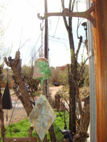 "Arcosanti Soleri 14"" Bronze Wind Bell - 2.5"" Bell Spotted Patina Diamond Fin NEW"