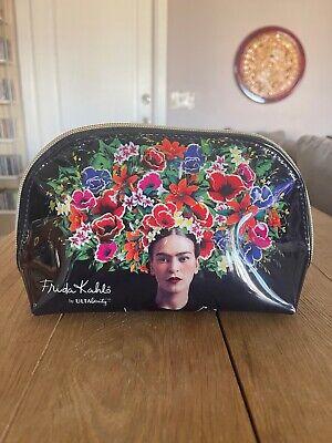 NWOT Ulta Exclusive Black Glossy Floral Frida Kahlo Cosmetic Make Up Bag