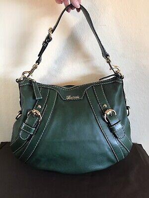 Gucci Green Leather Buckles Handbag Medium Knight Crest Shoulder Tote Bag