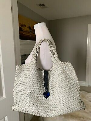 Falorni Woven Leather Tote Bag X-Large White With Dustbag Pouch