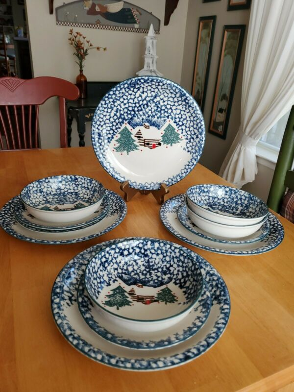 Folk Craft Teinshan China 12-Piece Dinnerware Set Cabin in the Snow EUC