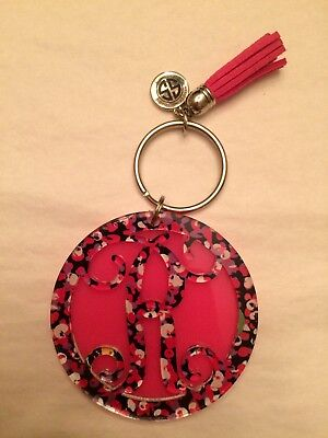 BRAND NEW R Initial SIMPLY SOUTHERN KEYCHAIN DAISY with Pink Tassel - Daisy Keychain