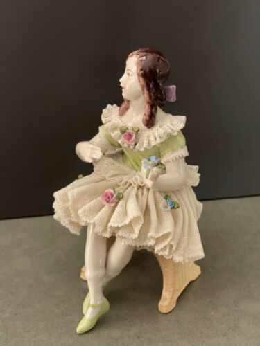 German Dresden Lace Porcelain Figurine - Girl On The Bench / Volkstedt Antique