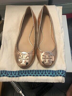 Tory Burch Rose Gold Flats Size 8.5 Excellent (Tory Burch Rose Gold Flats)